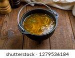 chicken soup bouillon in a plate | Shutterstock . vector #1279536184