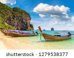traditional long tail boat on... | Shutterstock . vector #1279538377