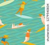 women sport activities. surfers ... | Shutterstock .eps vector #1279540834