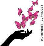 hand with pink butterflies...