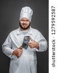 overweight professional cook... | Shutterstock . vector #1279592587
