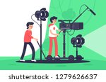 smiling men filming movie with...   Shutterstock .eps vector #1279626637