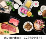 various food on the dark table | Shutterstock . vector #1279644544