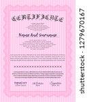 pink certificate of achievement.... | Shutterstock .eps vector #1279670167