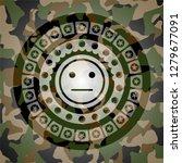 serious face icon on camo... | Shutterstock .eps vector #1279677091