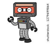 cartoon cassette tape robot | Shutterstock .eps vector #1279699864