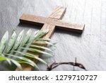 Easter Wooden Cross On Black...
