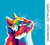 colorful cat vector illustration   Shutterstock .eps vector #1279712491
