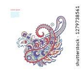 paisley floral oriental ethnic... | Shutterstock .eps vector #1279738561