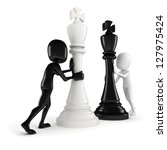 3d man pushing a king chess... | Shutterstock . vector #127975424