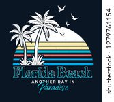 florida text with palm trees... | Shutterstock .eps vector #1279761154
