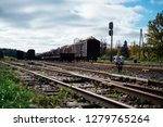closeup view of railway tracks... | Shutterstock . vector #1279765264