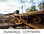 closeup view of railway tracks... | Shutterstock . vector #1279765351