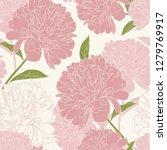pink peony rose flowers elegant ... | Shutterstock .eps vector #1279769917