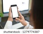 mockup smartphone on female... | Shutterstock . vector #1279774387