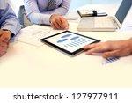 closeup of tablet screen... | Shutterstock . vector #127977911