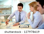 manager presenting budget to... | Shutterstock . vector #127978619