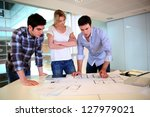 team of architects working on...   Shutterstock . vector #127979021