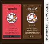 fish dish recipe app vector...