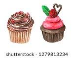 watercolor valentine's cupcackes | Shutterstock . vector #1279813234