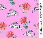 running rabbits and sunflowers...   Shutterstock . vector #1279820017