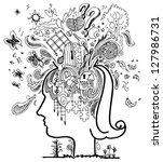 woman head full of confused... | Shutterstock .eps vector #127986731