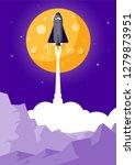space rocket launching flat... | Shutterstock .eps vector #1279873951