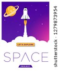 space rocket launching flat... | Shutterstock .eps vector #1279873954