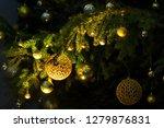 fir branch with balls and... | Shutterstock . vector #1279876831