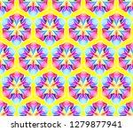 fantastic neon flower seamless...   Shutterstock .eps vector #1279877941