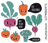 cute cartoon smile vegetable... | Shutterstock .eps vector #1279883971