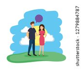 young couple with speech bubble ...   Shutterstock .eps vector #1279884787