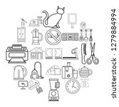 comfortable icons set. outline... | Shutterstock .eps vector #1279884994