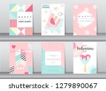 set of valentine's day card on... | Shutterstock .eps vector #1279890067