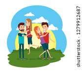 group of people in the camp | Shutterstock .eps vector #1279912687