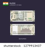 currency of india. flat vector... | Shutterstock .eps vector #1279913437