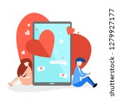 two lovers messaging online.... | Shutterstock .eps vector #1279927177