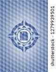 diskette icon inside blue badge ... | Shutterstock .eps vector #1279939501