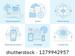 mobile app line icons. software ... | Shutterstock .eps vector #1279942957