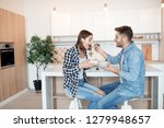 young happy man and woman in... | Shutterstock . vector #1279948657