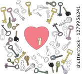 heart with keyhole and lots of... | Shutterstock .eps vector #1279956241