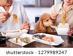 couple enjoy japanese thai meal ... | Shutterstock . vector #1279989247