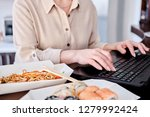 woman tasting asian food at... | Shutterstock . vector #1279992424