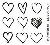 hand drawn grunge hearts on... | Shutterstock .eps vector #1279997974