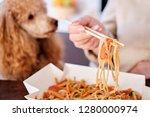 woman enjoy japanese thai meal... | Shutterstock . vector #1280000974