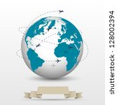 planes flying around the globe. ... | Shutterstock .eps vector #128002394