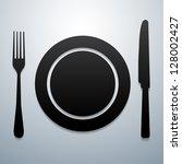 plate knife and fork   Shutterstock .eps vector #128002427