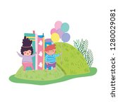 chubby couple with balloons... | Shutterstock .eps vector #1280029081
