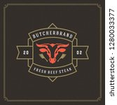 butcher shop logo vector... | Shutterstock .eps vector #1280033377