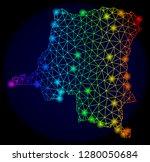 bright rainbow mesh vector map... | Shutterstock .eps vector #1280050684